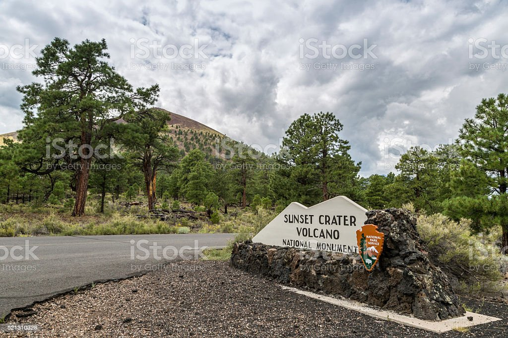 Entry Way to Sunset Crater National Monument stock photo