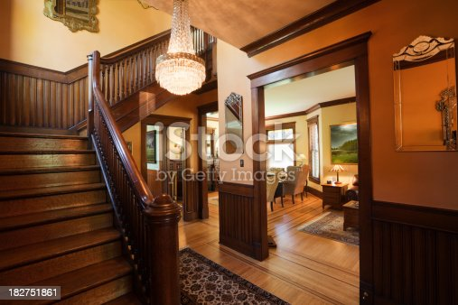 istock Entryway Foyer and Staircase of Restored Renovated Victorian Home Interior 182751861
