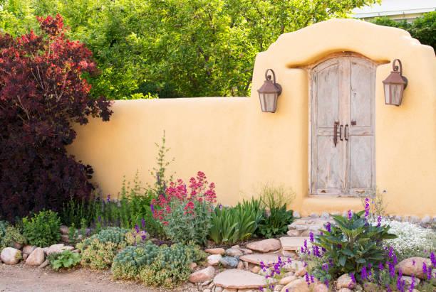 Entryway near Canyon Road in Santa Fe stock photo