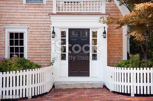 A New England doorway on Cape Cod, Massachusetts in midsummer.