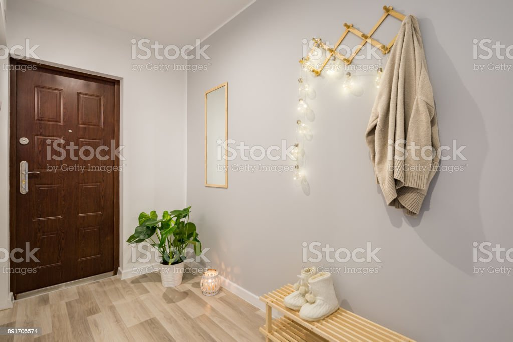 Entryway with gray walls stock photo