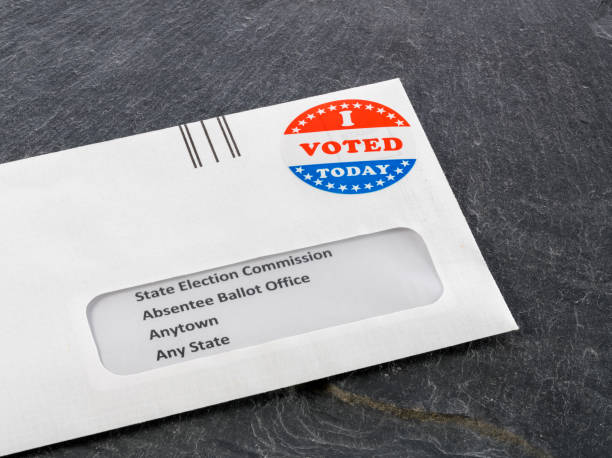Envelope addressed to state election committe for voting by mail stock photo