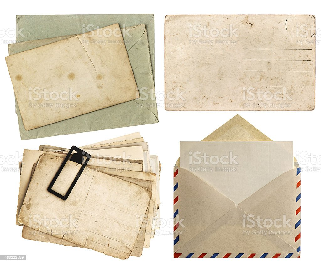 envelope air mail and postcards isolated on white royalty-free stock photo