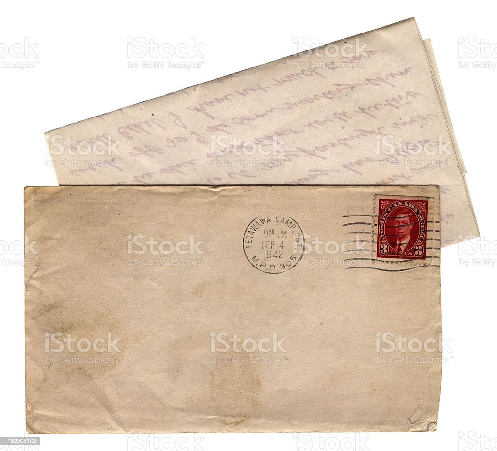 Envelope and letter from Petawawa Camp, Ontario, WW2 - 1942 royalty-free stock photo