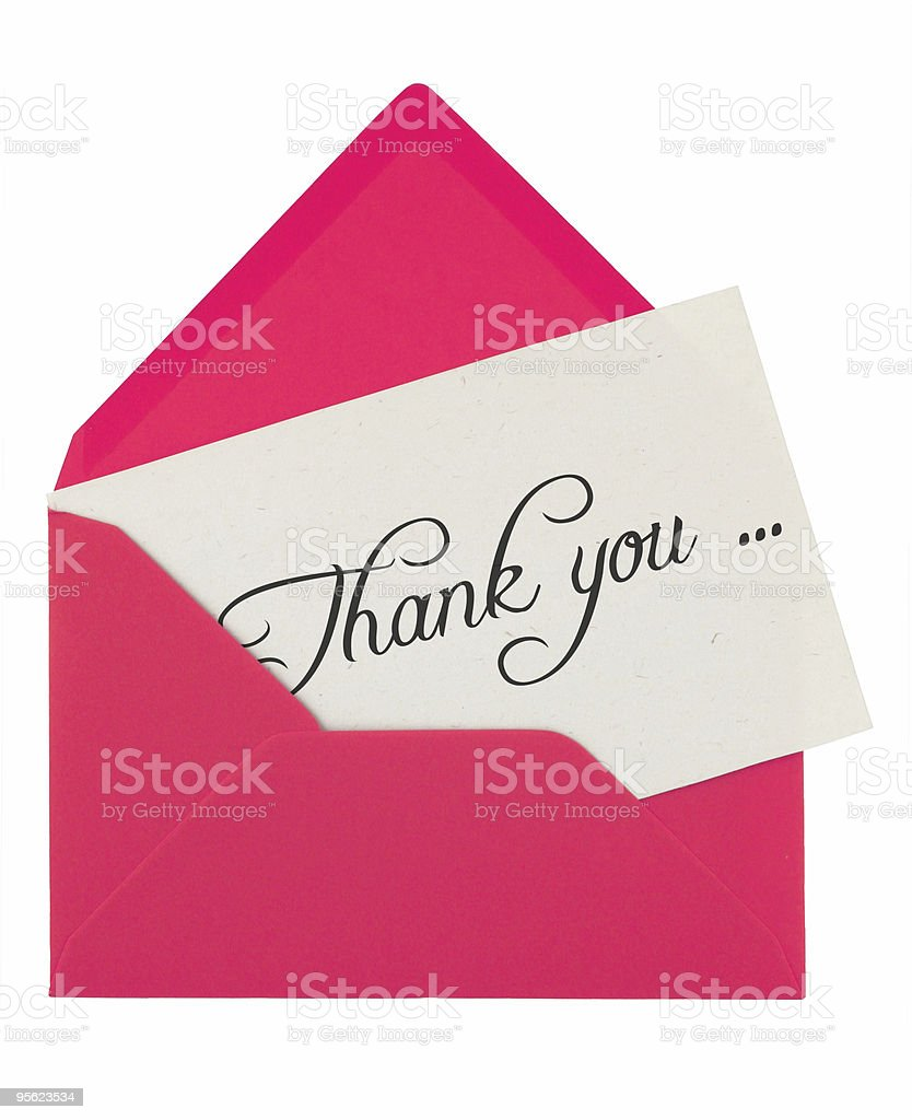 envelope and thank you note royalty-free stock photo