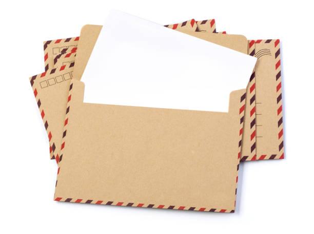 Envelope brown-gray wood par avion stock photo
