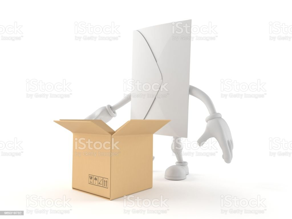 Envelope character with open cardboard box royalty-free stock photo