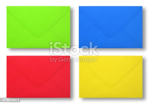 istock Envelope colorful on white backgeound 476908623