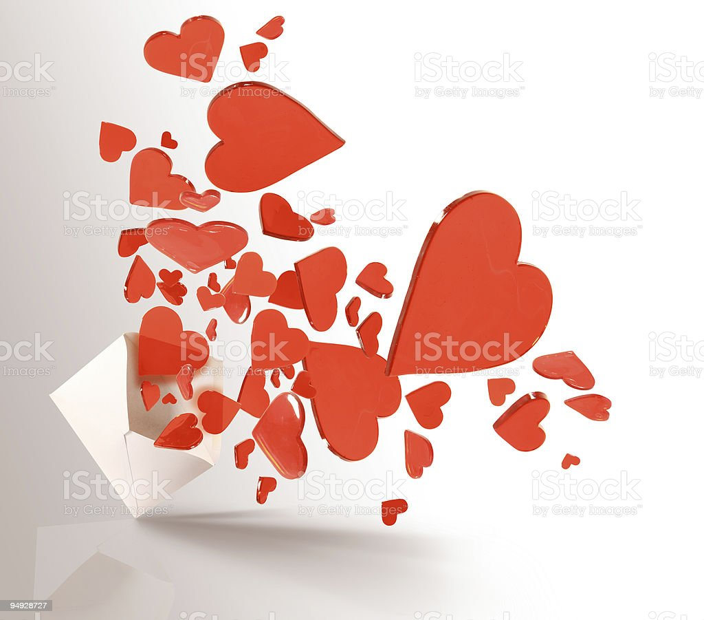 Envelope exploding hearts royalty-free stock photo