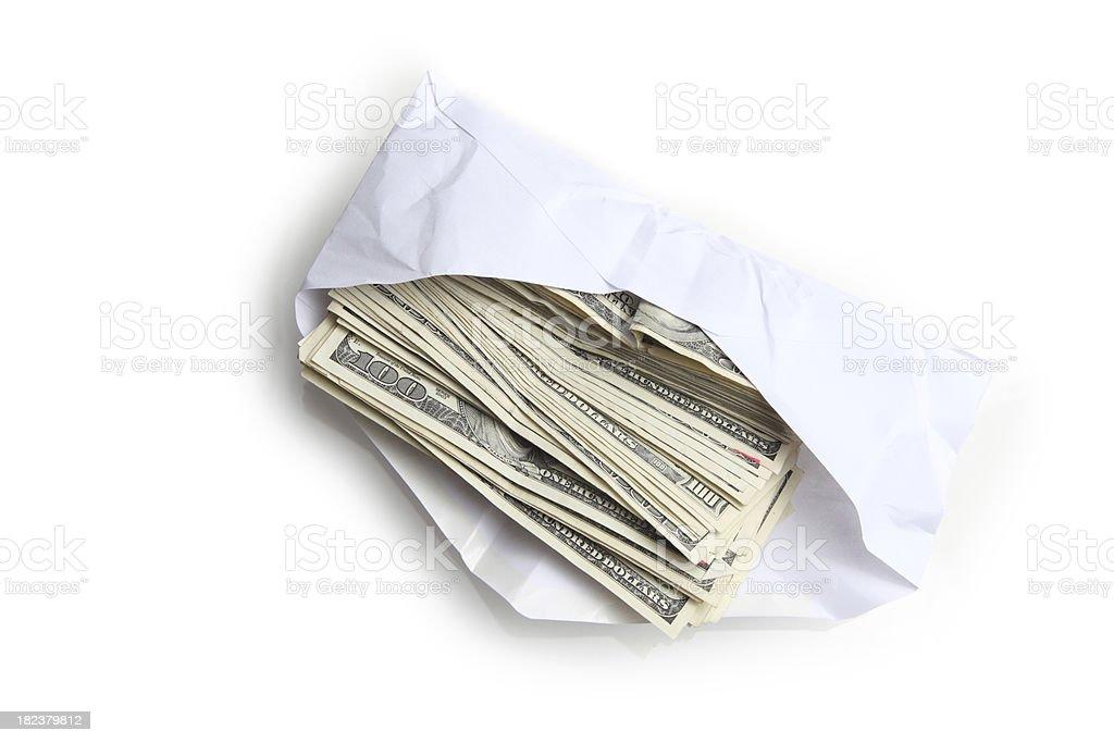 Envelope filled with stack of hundred dollar bills stock photo