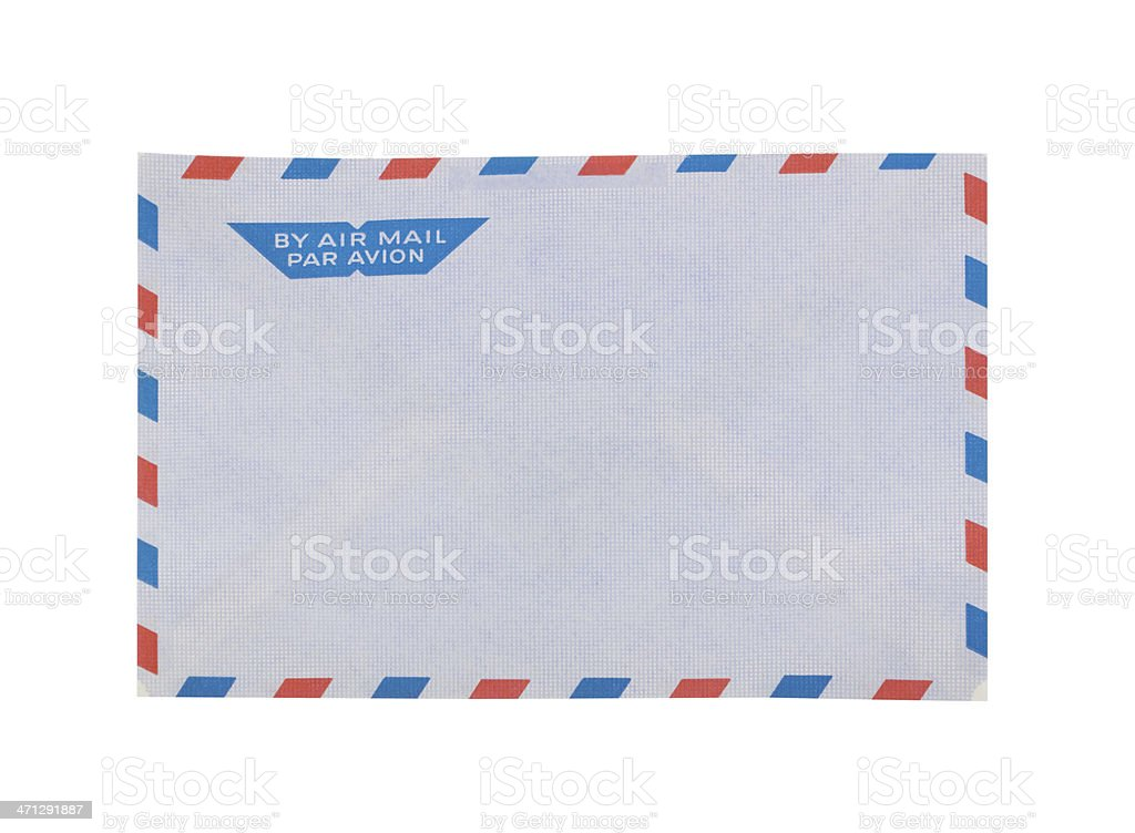 Envelope for airmail with clipping path stock photo