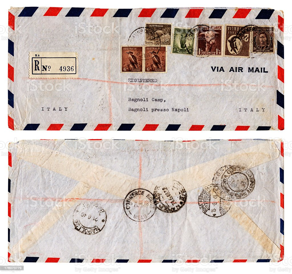 Envelope from Australia to refugee camp in Italy, 1949 royalty-free stock photo