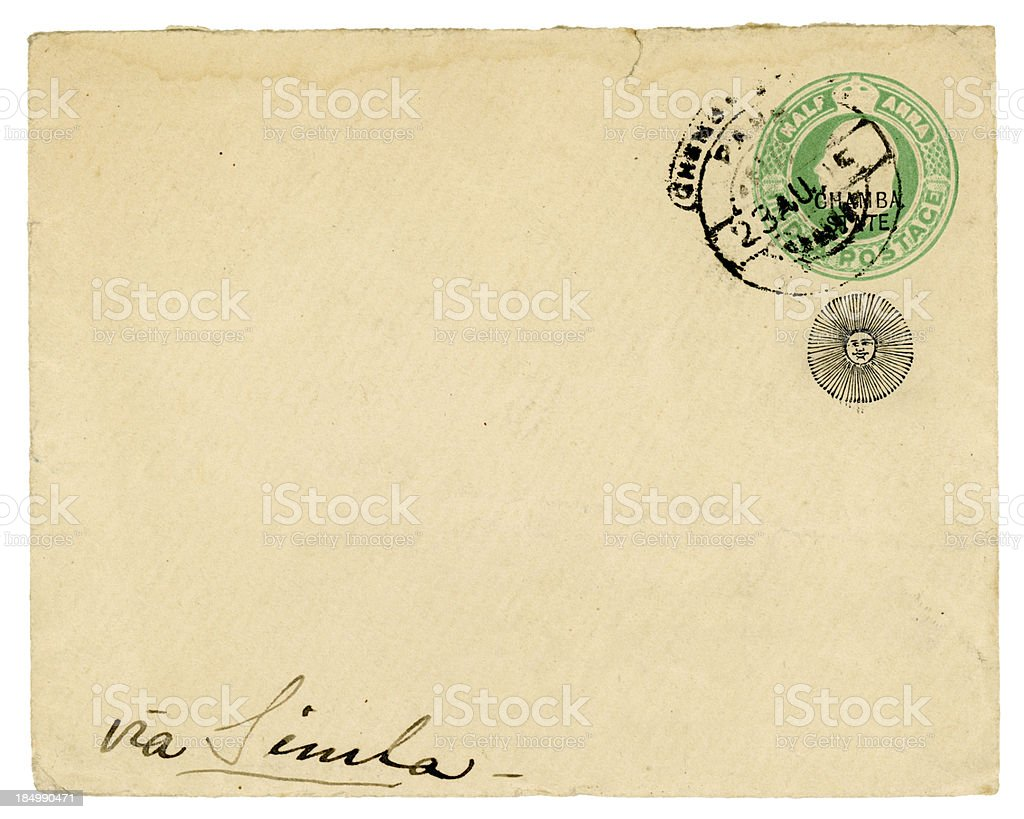 Envelope from Chamba State, India, posted 'via Simla' 1915 royalty-free stock photo