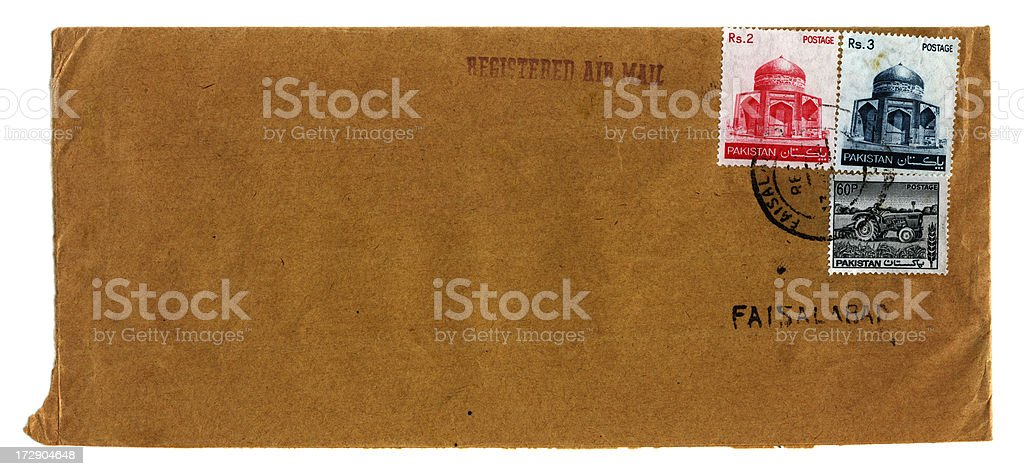 Envelope from Faisalabad royalty-free stock photo