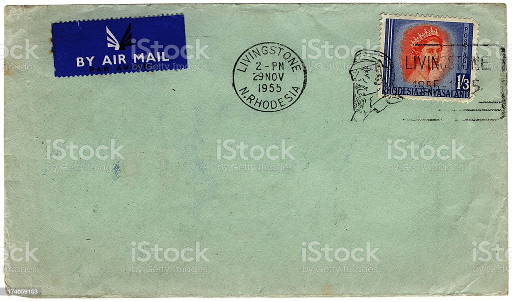 Envelope from Livingstone Northern Rhodesia stock photo