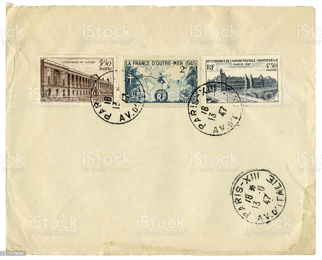 Envelope from Paris, France, 1947 royalty-free stock photo
