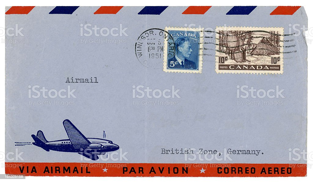 Envelope from Windsor, Ontario, 1951, to 'British Zone, Germany' royalty-free stock photo