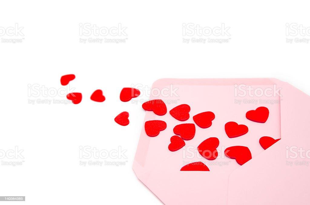 Envelope full of hearts stock photo