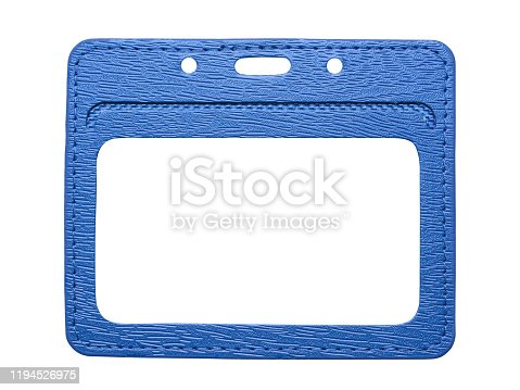 istock Envelope holder for the badge close-up isolated on white background 1194526975