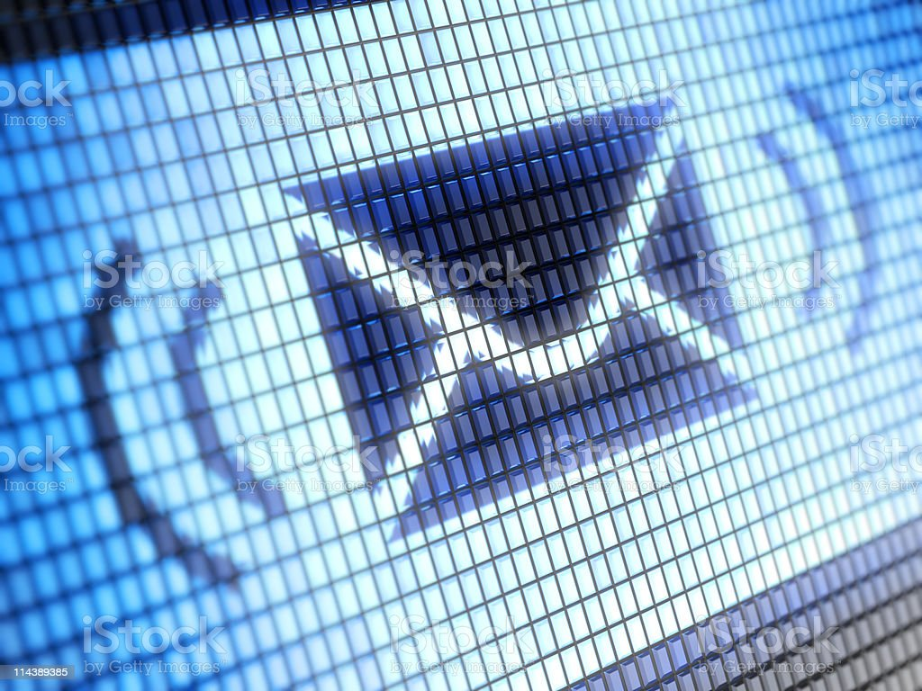 Envelope icon on blue pixel background stock photo