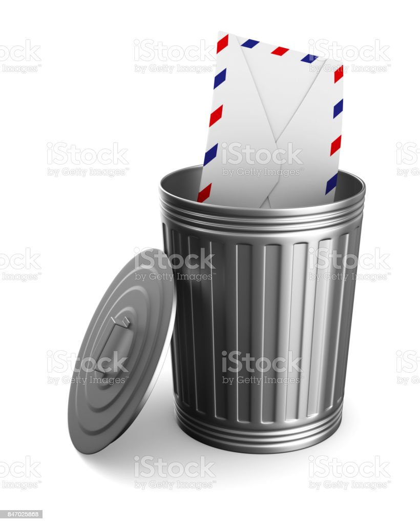 envelope in garbage basket on white background. Isolated 3D illustration stock photo