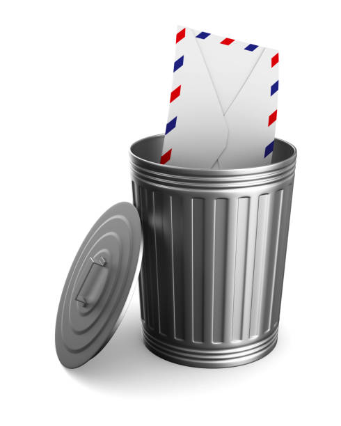 envelope in garbage basket on white background. isolated 3d illustration - delete key stock photos and pictures