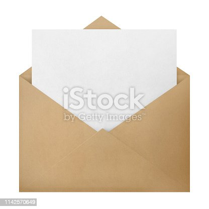 Open brown envelope with a blank paper inside, isolated on white background