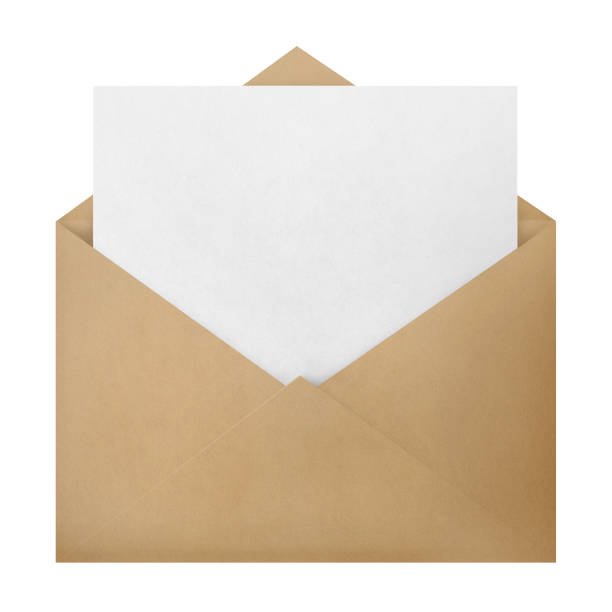 Envelope on white Open brown envelope with a blank paper inside, isolated on white background note message stock pictures, royalty-free photos & images