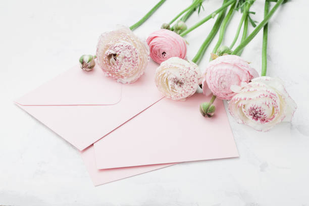 Envelope or letter paper card and pink ranunculus flowers greeting on picture id680464154?b=1&k=6&m=680464154&s=612x612&w=0&h=6qmy5jkezwqykx3fnc  iaslchaqqb m21dw3vlebiq=