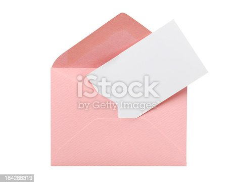Envelope and greeting card isolated on white