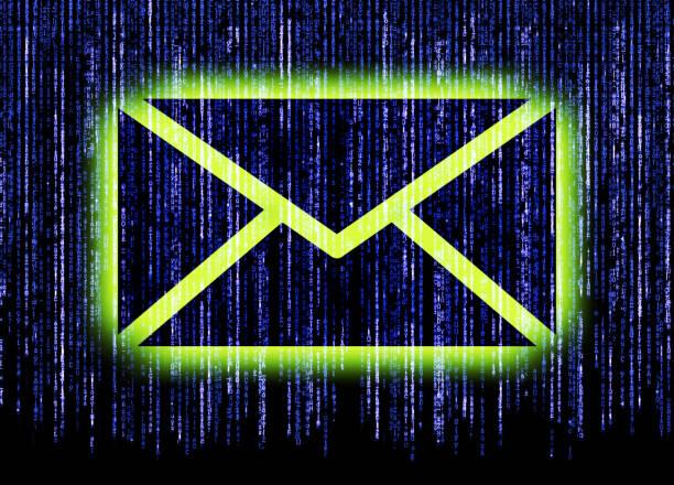 Envelope sign with matrix background stock photo