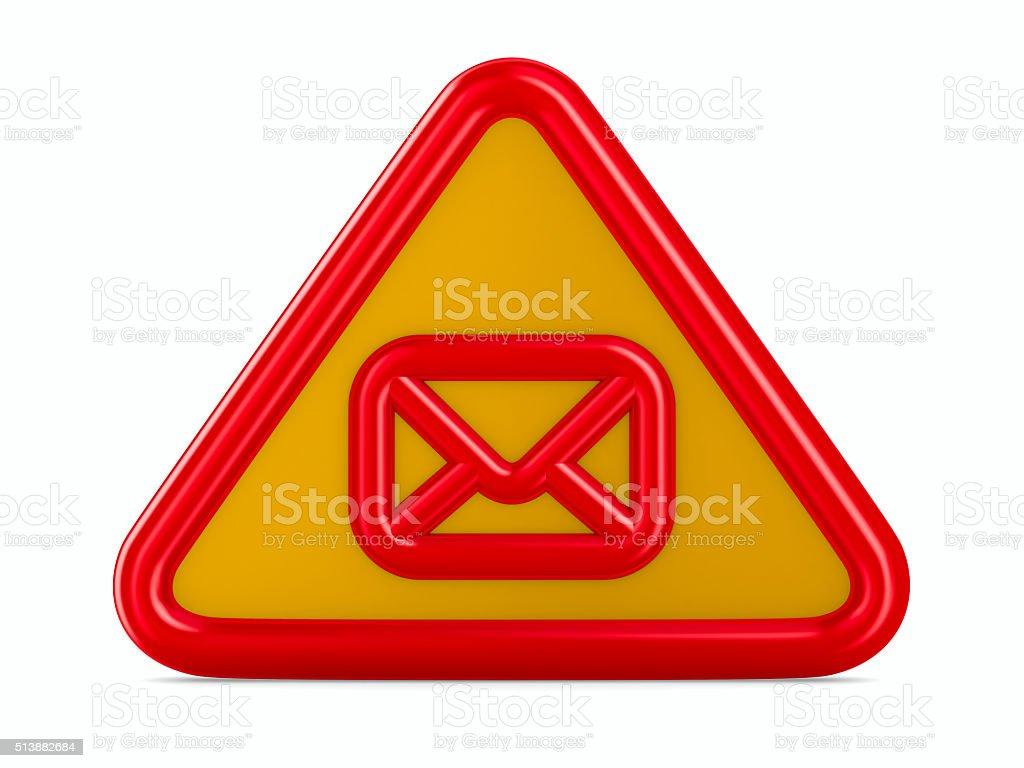 envelope traffic sign on white background. Isolated 3D image stock photo