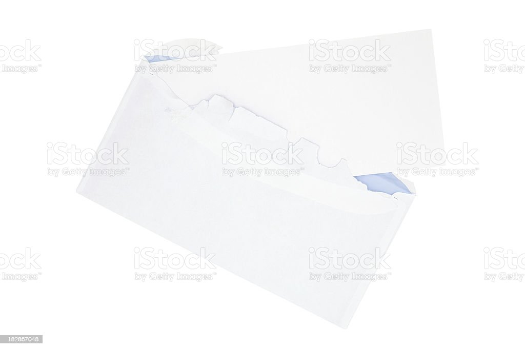 Envelope with  a Blank Message Card (Clipping Path Included) royalty-free stock photo