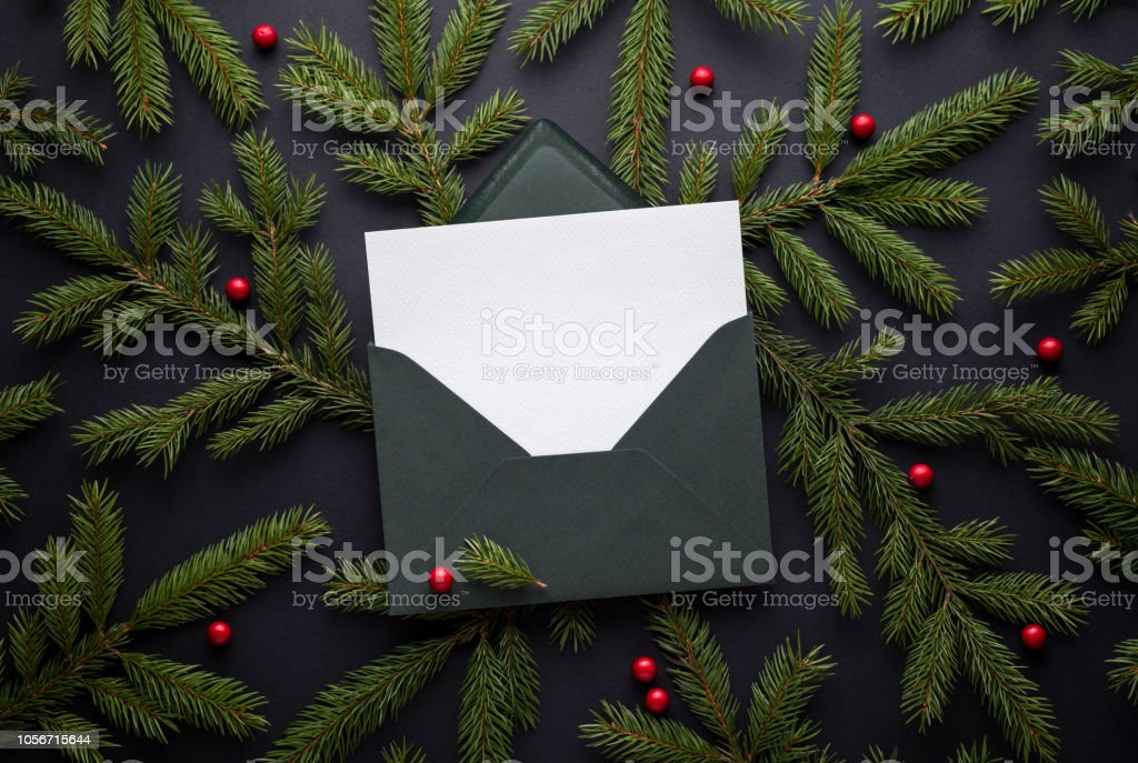 Envelope with a Christmas greeting stock photo