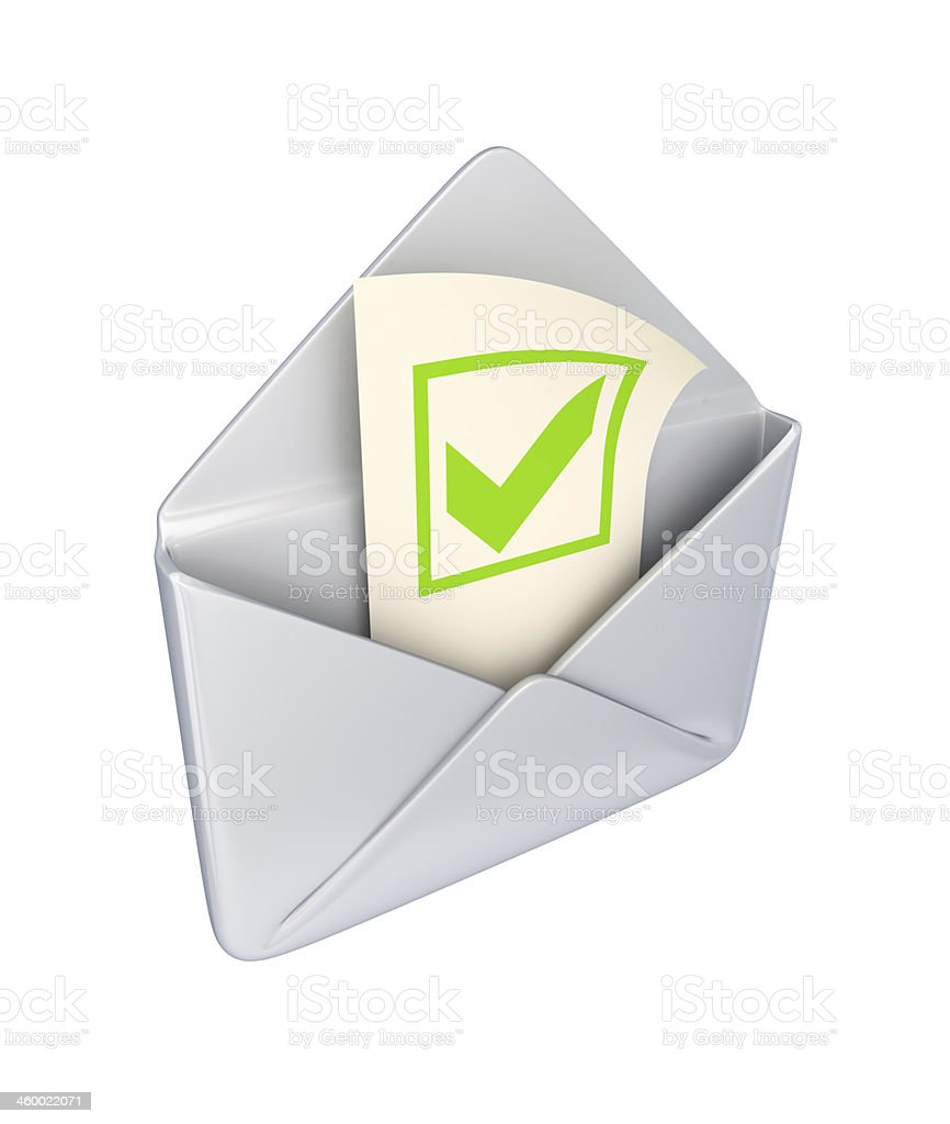 Envelope with a green tick mark. stock photo