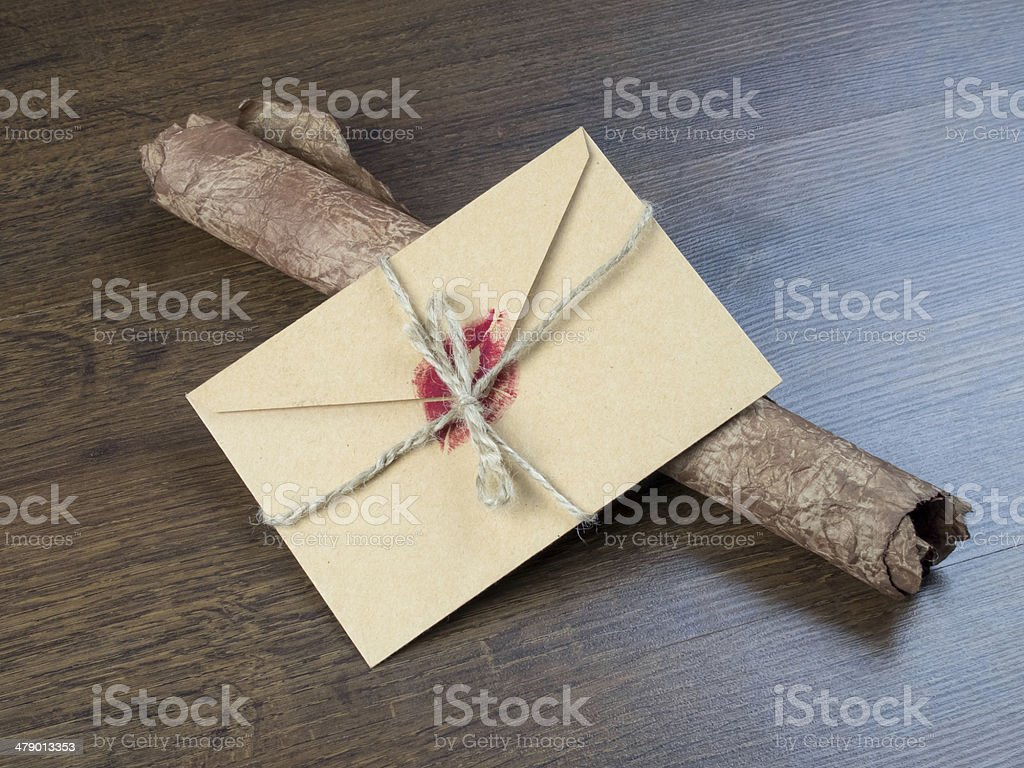 Envelope with a kiss royalty-free stock photo