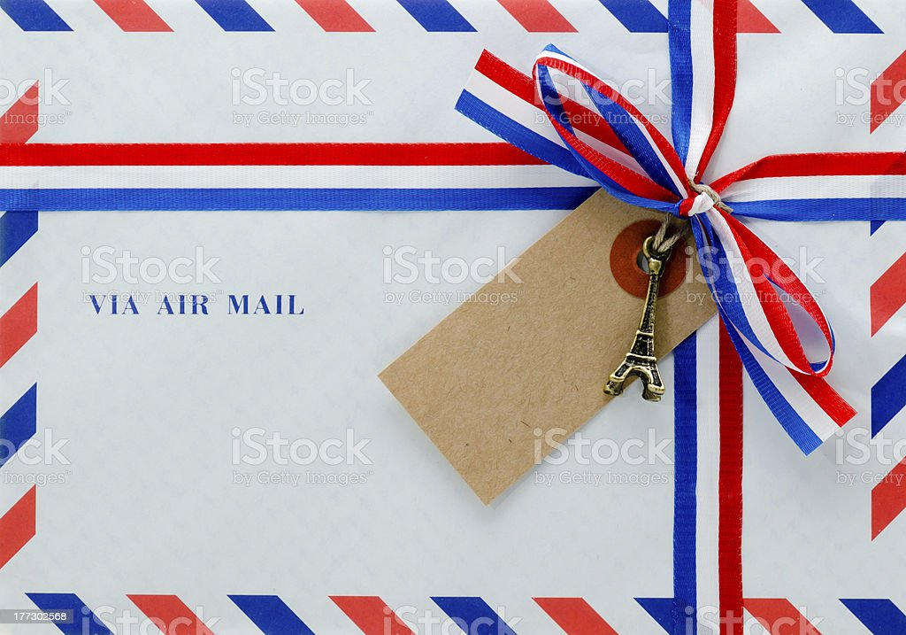 Envelope with bow and ribbon stock photo