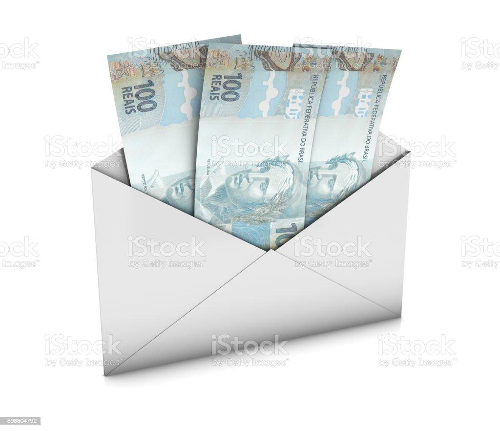 Envelope with Brazil Reais stock photo