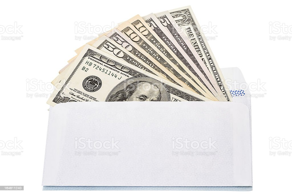 Envelope with cash in dollars royalty-free stock photo
