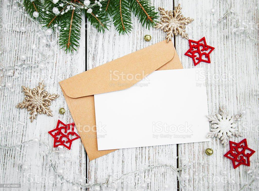 Envelope with christmas decoration stock photo