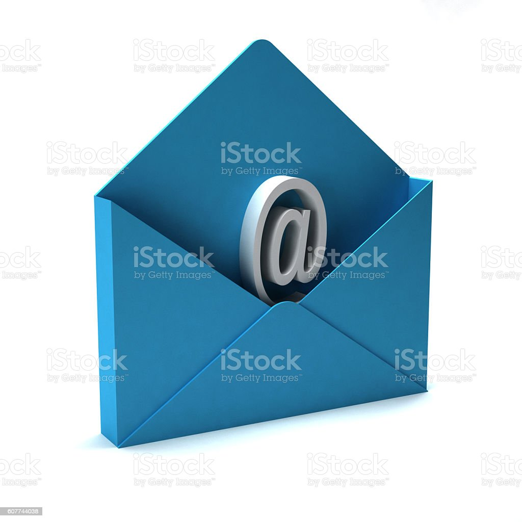 Envelope with email Sign. Concept of Communication. 3D rendering Illustration stock photo