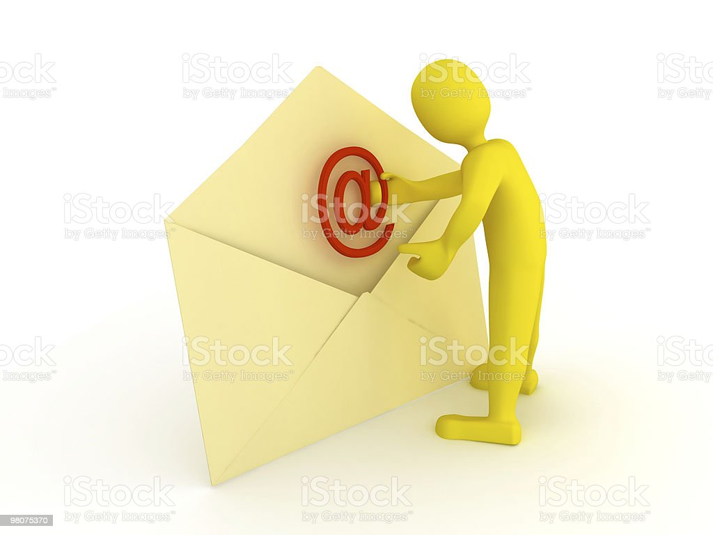 Envelope with e-mail sign over white royalty-free stock photo