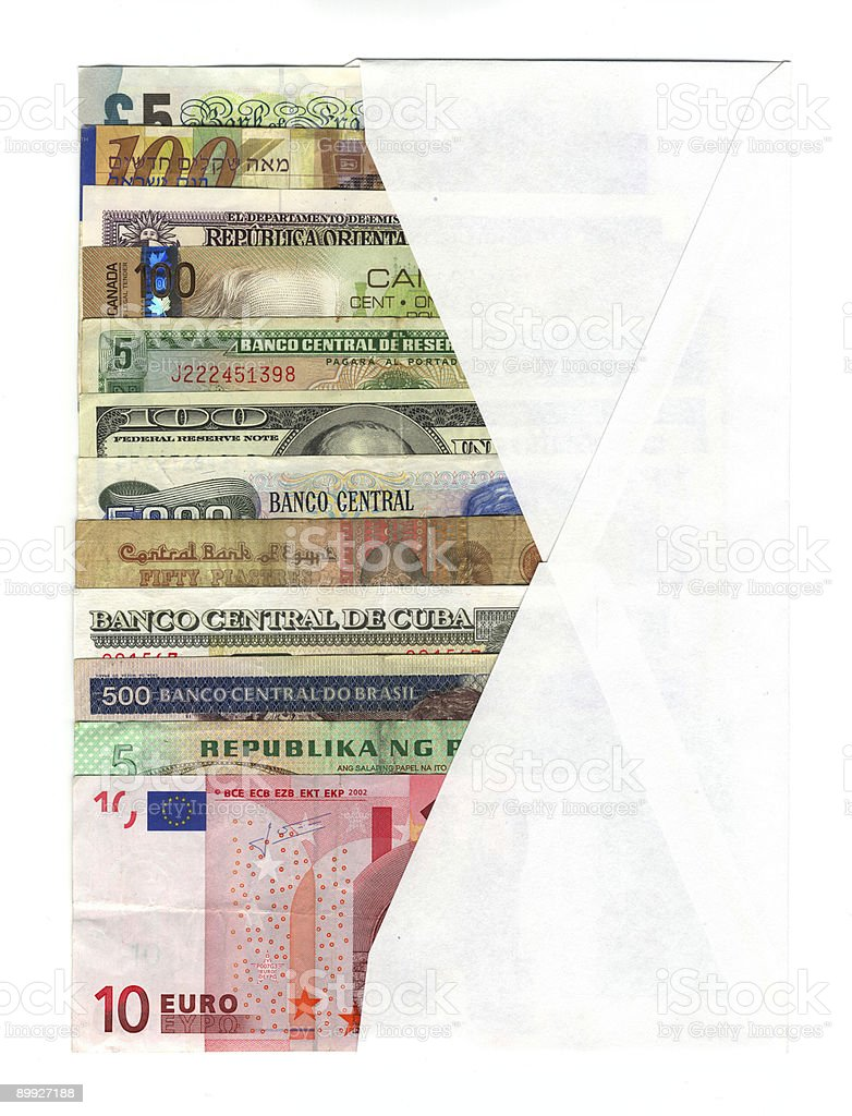 Envelope with international currencies royalty-free stock photo