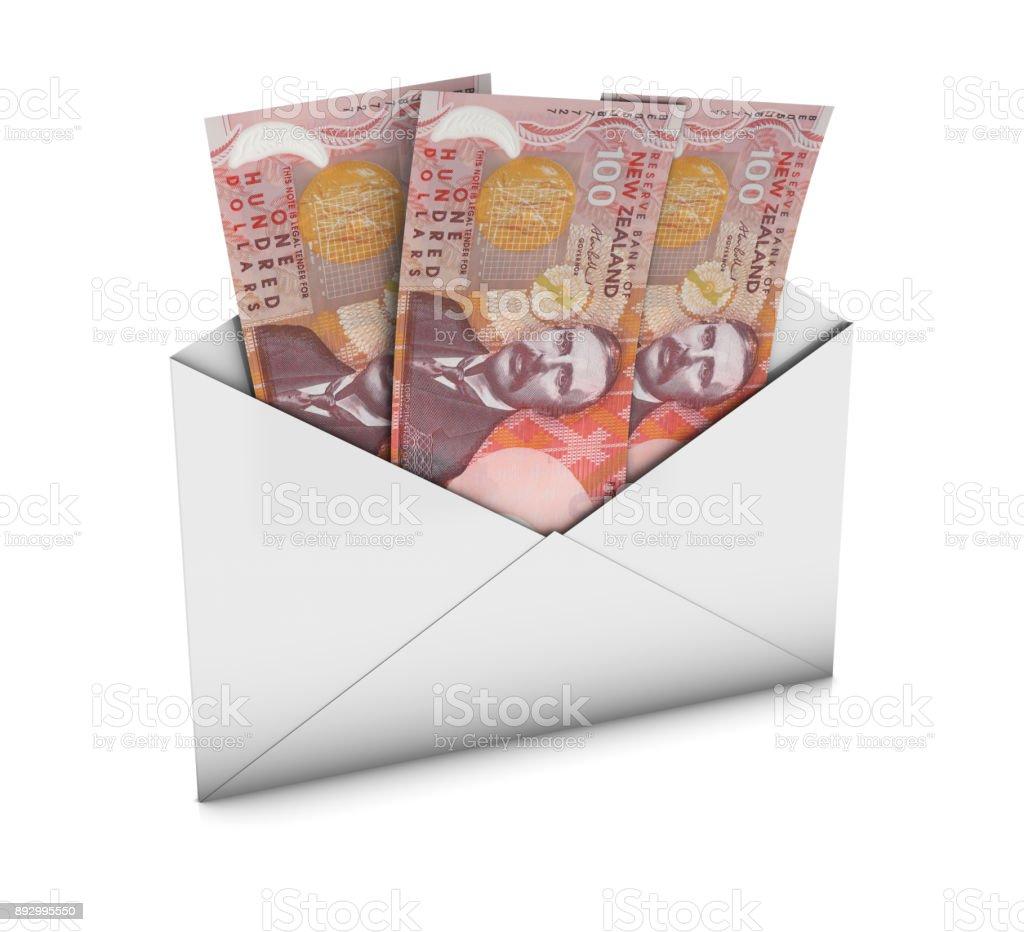 Envelope with New Zealand Dollars stock photo