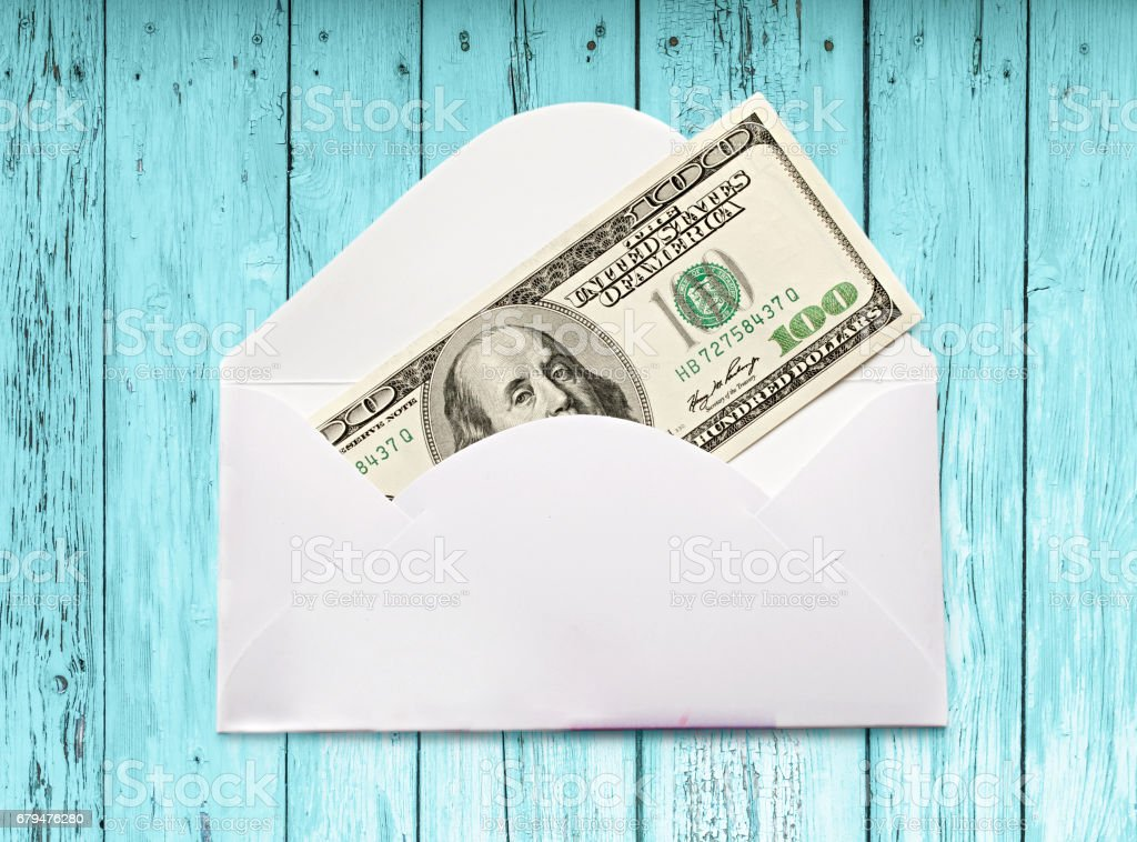 Envelope with one hundred dollar banknote 免版稅 stock photo