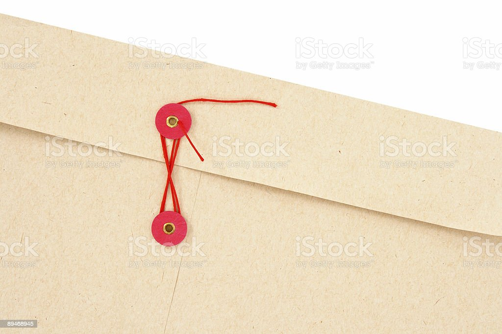 Envelope with red string royalty free stockfoto