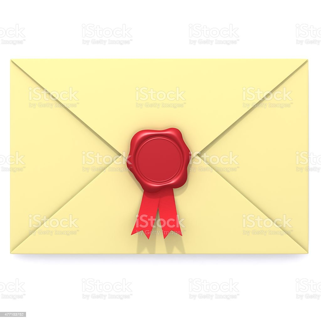 Envelope with red wax seal stock photo