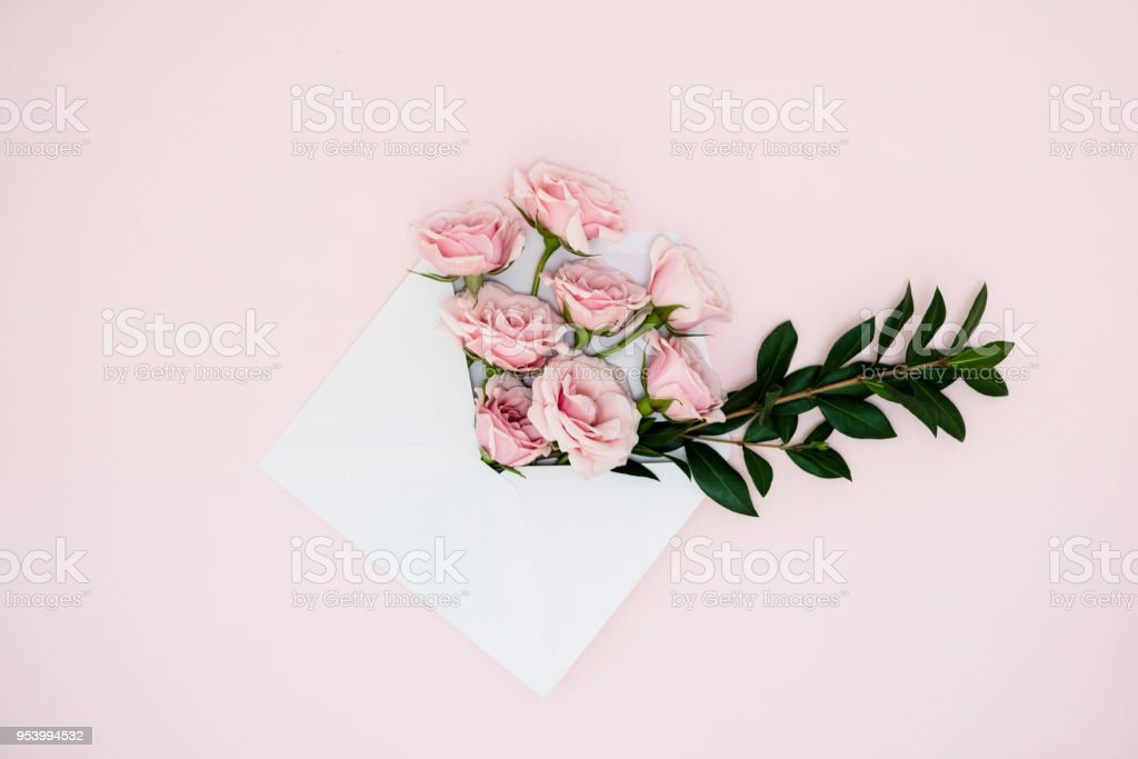 Envelope with roses stock photo