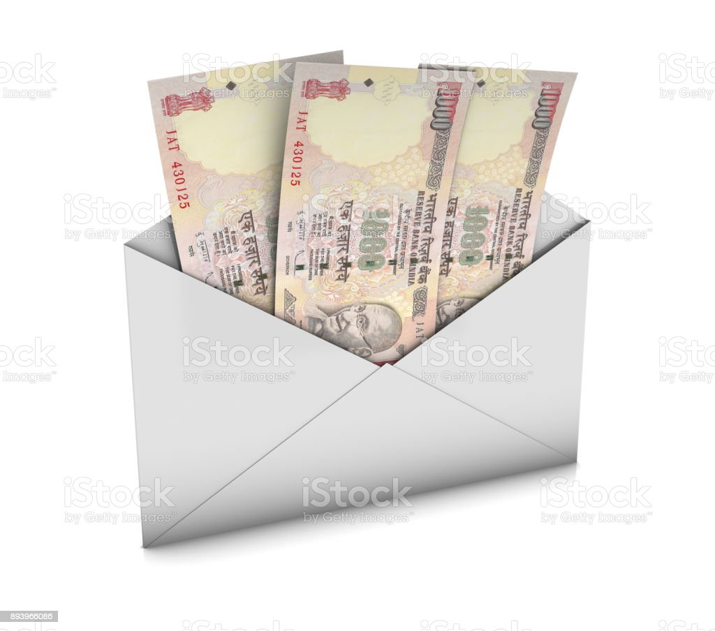 Envelope with Rupees stock photo