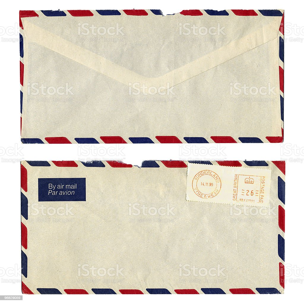 Envelope with stamps seen from the front and from the back royalty-free stock photo